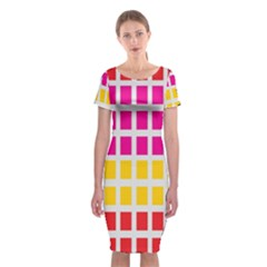 Squares Pattern Background Colorful Squares Wallpaper Classic Short Sleeve Midi Dress by Simbadda