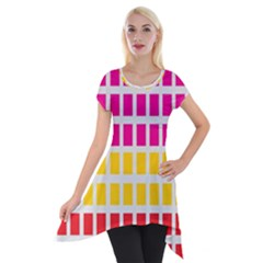 Squares Pattern Background Colorful Squares Wallpaper Short Sleeve Side Drop Tunic by Simbadda