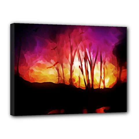 Fall Forest Background Canvas 16  X 12  by Simbadda