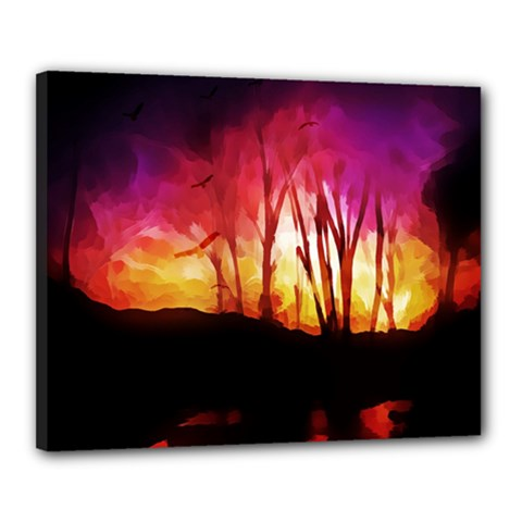 Fall Forest Background Canvas 20  X 16  by Simbadda