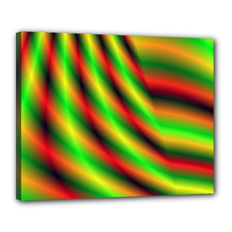 Neon Color Fractal Lines Canvas 20  X 16  by Simbadda