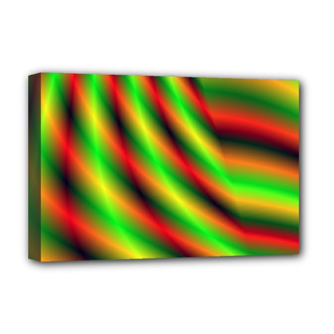Neon Color Fractal Lines Deluxe Canvas 18  X 12   by Simbadda