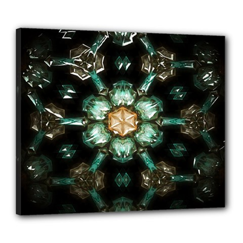Kaleidoscope With Bits Of Colorful Translucent Glass In A Cylinder Filled With Mirrors Canvas 24  X 20  by Simbadda