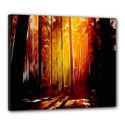 Artistic Effect Fractal Forest Background Canvas 24  X 20  by Simbadda