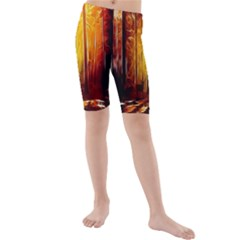 Artistic Effect Fractal Forest Background Kids  Mid Length Swim Shorts