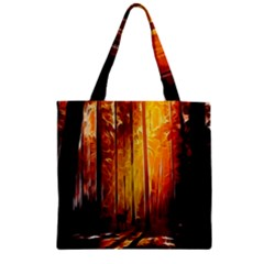Artistic Effect Fractal Forest Background Zipper Grocery Tote Bag by Simbadda