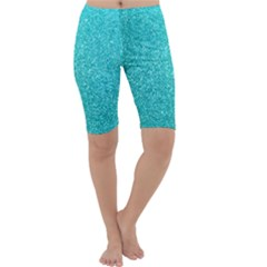 Tiffany Aqua Blue Glitter Cropped Leggings  by PodArtist