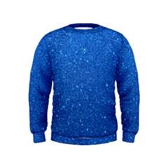 Night Sky Sparkly Blue Glitter Kids  Sweatshirt by PodArtist