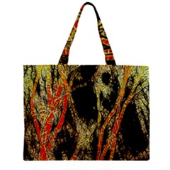 Artistic Effect Fractal Forest Background Zipper Mini Tote Bag by Simbadda