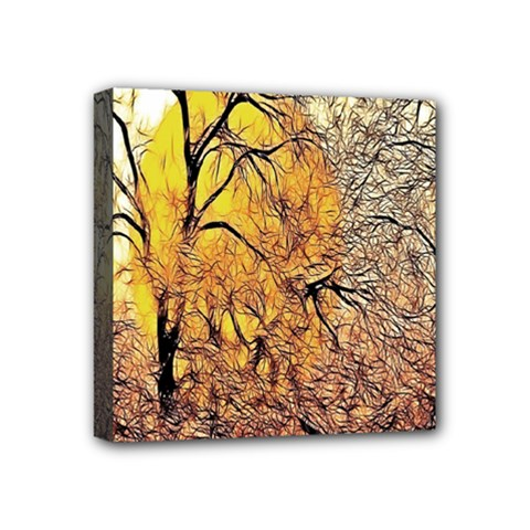 Summer Sun Set Fractal Forest Background Mini Canvas 4  X 4  by Simbadda