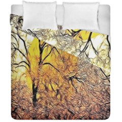 Summer Sun Set Fractal Forest Background Duvet Cover Double Side (california King Size) by Simbadda