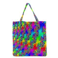 Digital Rainbow Fractal Grocery Tote Bag by Simbadda