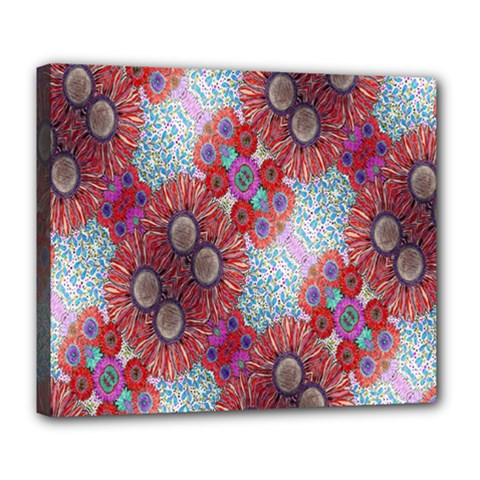 Floral Flower Wallpaper Created From Coloring Book Colorful Background Deluxe Canvas 24  X 20   by Simbadda