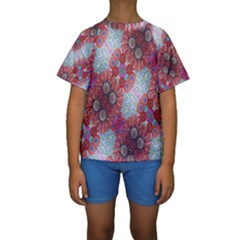 Floral Flower Wallpaper Created From Coloring Book Colorful Background Kids  Short Sleeve Swimwear by Simbadda