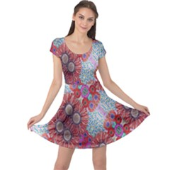 Floral Flower Wallpaper Created From Coloring Book Colorful Background Cap Sleeve Dresses