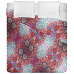 Floral Flower Wallpaper Created From Coloring Book Colorful Background Duvet Cover Double Side (california King Size)