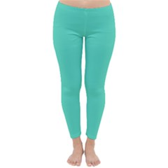 Tiffany Aqua Blue Solid Color Classic Winter Leggings by PodArtist