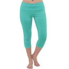 Tiffany Aqua Blue Solid Color Capri Yoga Leggings by PodArtist