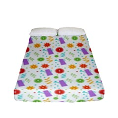 Decorative Spring Flower Pattern Fitted Sheet (full/ Double Size) by TastefulDesigns
