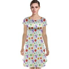 Decorative Spring Flower Pattern Cap Sleeve Nightdress by TastefulDesigns