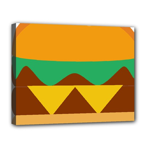 Hamburger Bread Food Cheese Canvas 14  X 11  by Simbadda