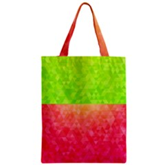 Colorful Abstract Triangles Pattern  Zipper Classic Tote Bag by TastefulDesigns
