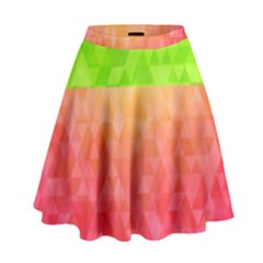 Colorful Abstract Triangles Pattern  High Waist Skirt by TastefulDesigns