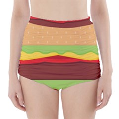 Vector Burger Time Background High Waisted Bikini Bottoms