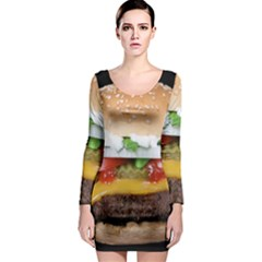 Abstract Barbeque Bbq Beauty Beef Long Sleeve Bodycon Dress by Simbadda