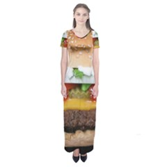 Abstract Barbeque Bbq Beauty Beef Short Sleeve Maxi Dress by Simbadda