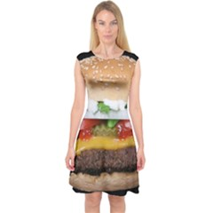 Abstract Barbeque Bbq Beauty Beef Capsleeve Midi Dress by Simbadda
