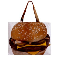 Cheeseburger On Sesame Seed Bun Zipper Mini Tote Bag by Simbadda