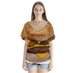 Cheeseburger On Sesame Seed Bun Flutter Sleeve Top by Simbadda