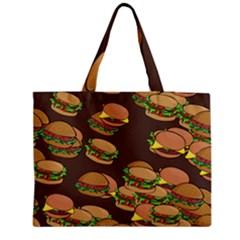 A Fun Cartoon Cheese Burger Tiling Pattern Medium Zipper Tote Bag by Simbadda