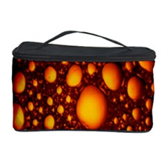 Bubbles Abstract Art Gold Golden Cosmetic Storage Case by Simbadda
