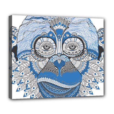 Pattern Monkey New Year S Eve Deluxe Canvas 24  X 20   by Simbadda