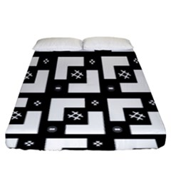 Abstract Pattern Background  Wallpaper In Black And White Shapes, Lines And Swirls Fitted Sheet (king Size) by Simbadda