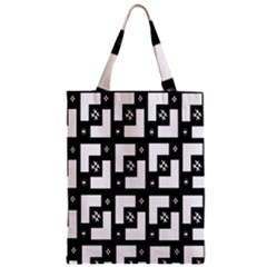 Abstract Pattern Background  Wallpaper In Black And White Shapes, Lines And Swirls Zipper Classic Tote Bag by Simbadda