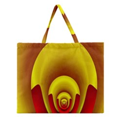 Red Gold Fractal Hypocycloid Zipper Large Tote Bag by Simbadda