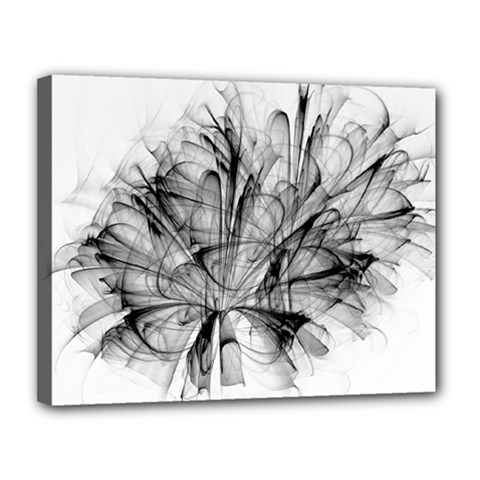 High Detailed Resembling A Flower Fractalblack Flower Canvas 14  X 11  by Simbadda