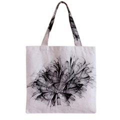 High Detailed Resembling A Flower Fractalblack Flower Grocery Tote Bag by Simbadda