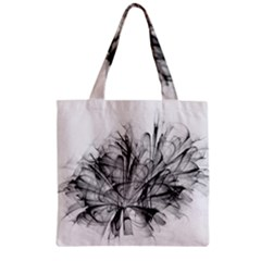 High Detailed Resembling A Flower Fractalblack Flower Zipper Grocery Tote Bag by Simbadda