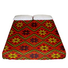 Folklore Fitted Sheet (queen Size) by Valentinaart