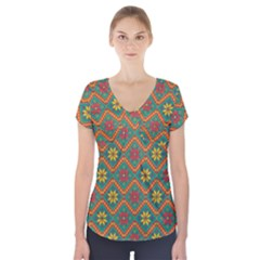 Folklore Short Sleeve Front Detail Top by Valentinaart