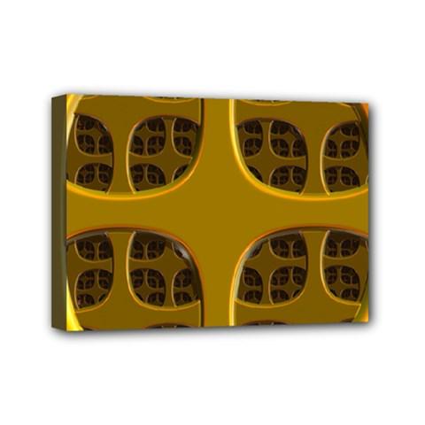 Golden Fractal Window Mini Canvas 7  X 5  by Simbadda