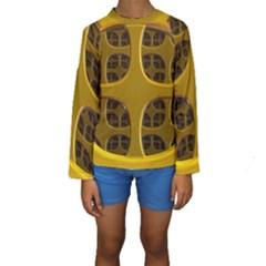 Golden Fractal Window Kids  Long Sleeve Swimwear by Simbadda