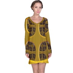 Golden Fractal Window Long Sleeve Nightdress