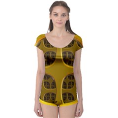 Golden Fractal Window Boyleg Leotard