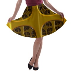 Golden Fractal Window A-line Skater Skirt by Simbadda