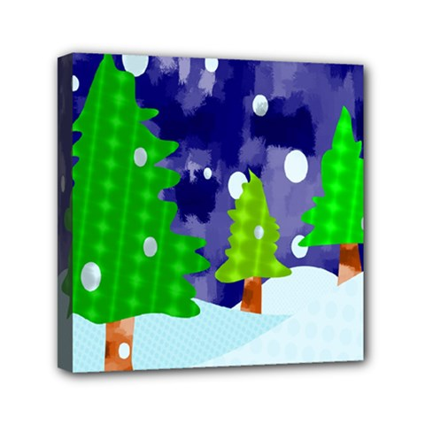 Christmas Trees And Snowy Landscape Mini Canvas 6  X 6  by Simbadda